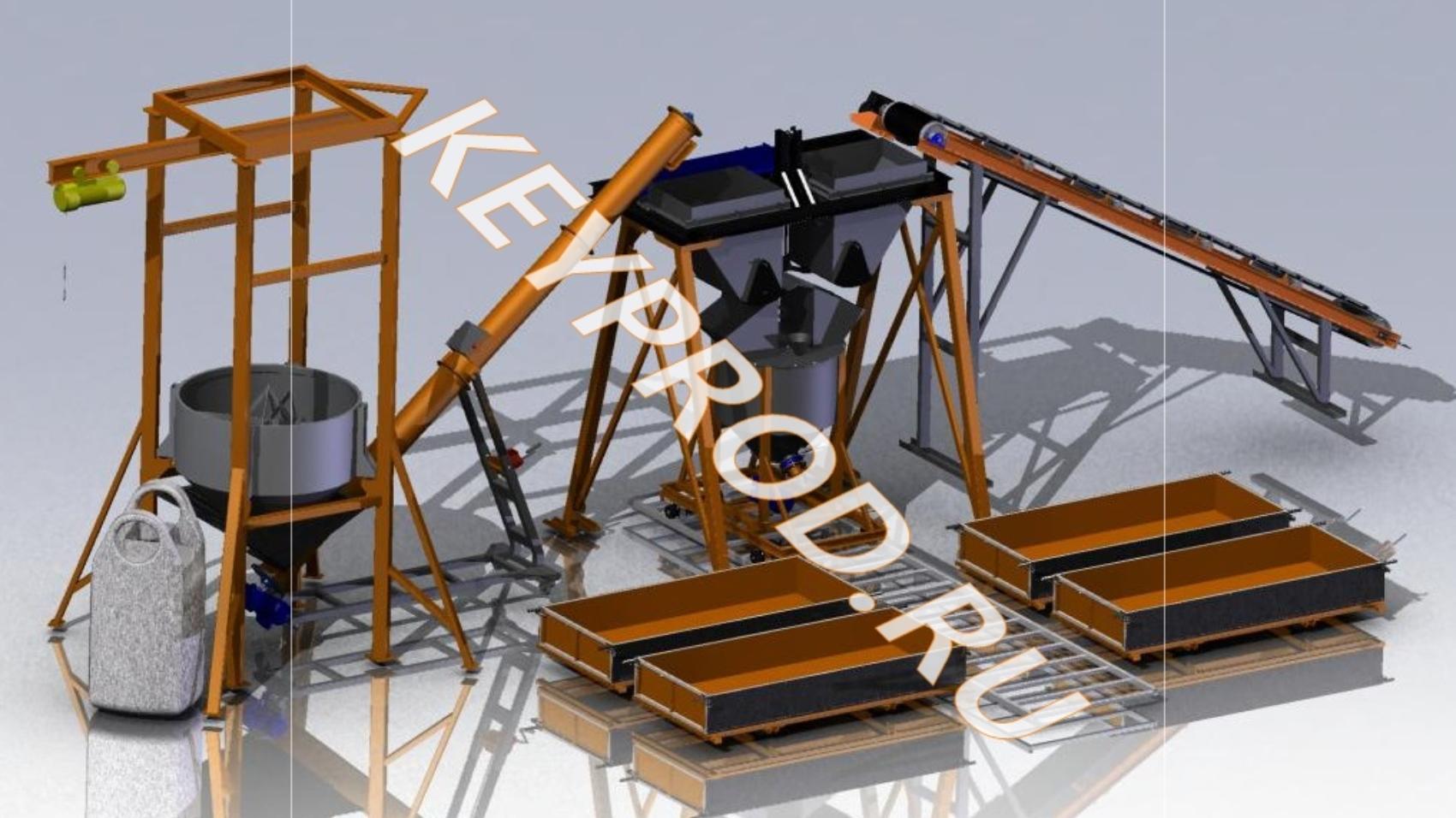 3D-модели и чертежи линий для производства газобетонных блоков