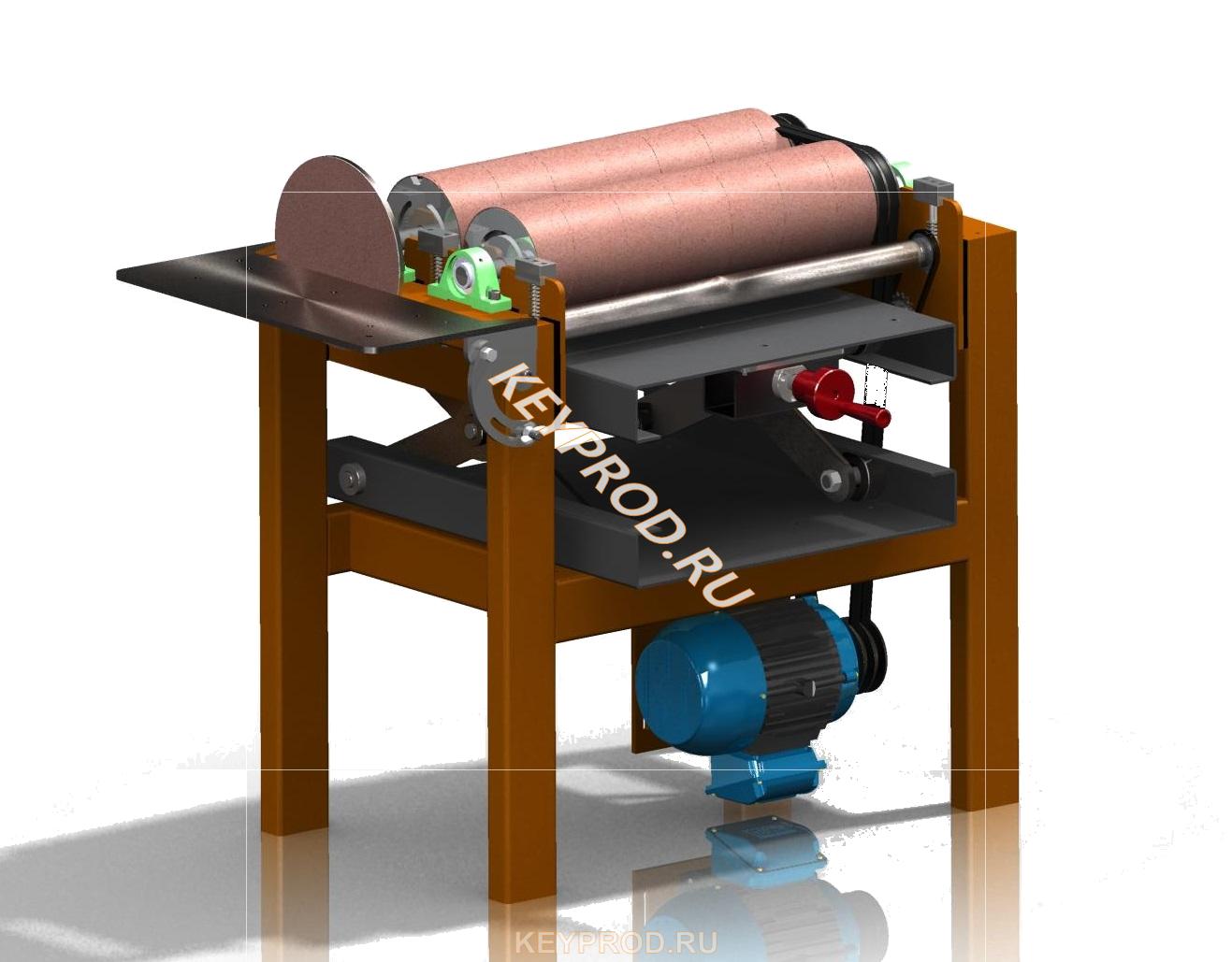 Двухбарабанный шлифовальный станок 3D-модель и чертежи