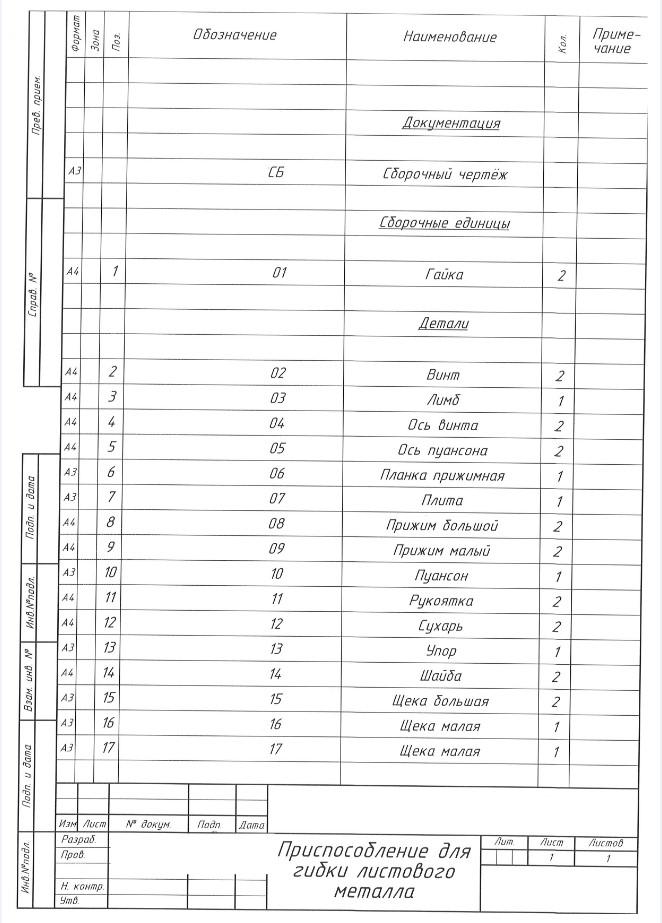 Листогиб чертежи спецификация