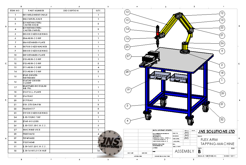 Резьбонарезной манипулятор 3D-модель чертежи