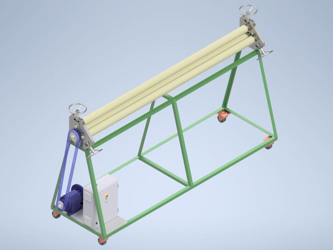 Вальцовочный станок 2000 мм 3D-модель и чертежи